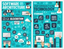 Information and communication technology banner. Information technology banner of internet, data storage and communication concept. Computer, laptop, mobile Stock Photos