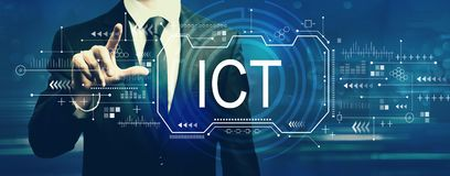 Information and communications technology with businessman stock photography