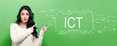 Information and communications technology with young woman royalty free stock photo