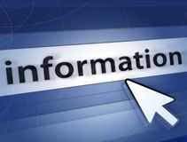 Information concept. Blue information concept and computer arrow Stock Photo