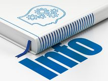 Information concept: book Head With Gears, Info on white background. Information concept: closed book with Blue Head With Gears icon and text Info on floor Stock Photo