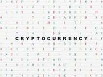 Information concept: Cryptocurrency on wall background Royalty Free Stock Images