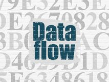 Information concept: Data Flow on wall background. Information concept: Painted blue text Data Flow on White Brick wall background with  Hexadecimal Code Stock Photo