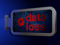 Information concept: Data Loss and Head With Padlock on billboard background. Information concept: Data Loss and Head With Padlock on advertising billboard Royalty Free Stock Photo