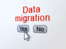 Information concept: Data Migration on digital computer screen. Information concept: buttons yes and no with pixelated word Data Migration and Arrow cursor on Royalty Free Stock Images