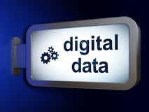 Information concept: Digital Data and Gears on billboard background Royalty Free Stock Photo