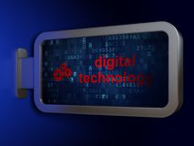 Information concept: Digital Technology and Gears on billboard background Stock Photo