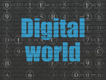 Information concept: Digital World on wall Stock Photo
