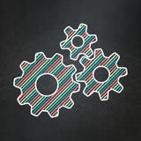 Information concept: Gears on chalkboard background. Information concept: Gears icon on Black chalkboard background, 3d render Stock Photos