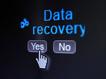Information concept: Gears icon and Data Recovery. Information concept: buttons yes and no with pixelated Gears icon, word Data Recovery and Hand cursor on Royalty Free Stock Photo