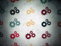 Information concept: Gears icons on Digital Paper. Information concept: Painted multicolor Gears icons on Digital Paper background, 3d render Royalty Free Stock Photo