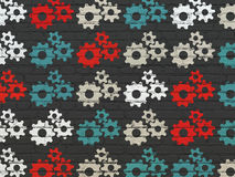 Information concept: Gears icons on wall. Information concept: Painted multicolor Gears icons on Black Brick wall background, 3d render Royalty Free Stock Photography