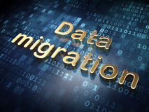 Information concept: Golden Data Migration on Royalty Free Stock Image