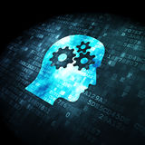 Information concept: Head With Gears on digital. Information concept: pixelated Head With Gears icon on digital background, 3d render Stock Image