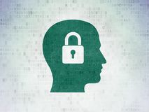 Information concept: Head With Padlock on Digital Data Paper background. Information concept: Painted green Head With Padlock icon on Digital Data Paper Stock Image