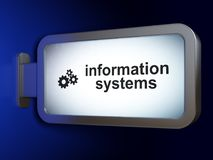 Information concept: Information Systems and Gears on billboard background Stock Photography