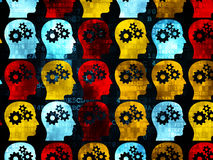 Information concept: multicolor Head With Gears. Information concept: Pixelated multicolor Head With Gears icons on Digital background, 3d render Stock Photo