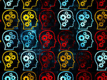 Information concept: multicolor Head With Gears. Information concept: Pixelated multicolor Head With Gears icons on Digital background, 3d render Royalty Free Stock Image