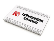 Information concept: newspaper with Information Sharing and Computer Pc Royalty Free Stock Photos