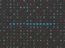 Information concept: Cryptocurrency on wall background. Information concept: Painted blue text Cryptocurrency on Black Brick wall background with Hexadecimal Stock Images