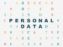 Information concept: Personal Data on wall background. Information concept: Painted blue text Personal Data on White Brick wall background with Hexadecimal Code Royalty Free Stock Photos
