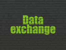 Information concept: Data Exchange on wall background. Information concept: Painted green text Data Exchange on Black Brick wall background Royalty Free Stock Photography