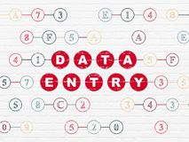 Information concept: Data Entry on wall background. Information concept: Painted red text Data Entry on White Brick wall background with Hexadecimal Code Royalty Free Stock Images