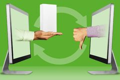 Information concept, two hands from laptops. hand with white small cell phone box and thumbs down, dislike. 3d illustration. Online concept, hands from laptops vector illustration