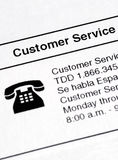 Information about contacting the Customer Service Royalty Free Stock Photo