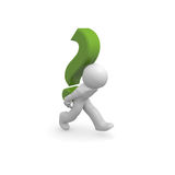 Information. 3d man with a green question mark Stock Photos
