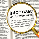 Information Definition Magnifier Showing Knowledge Data And Fact Stock Photos