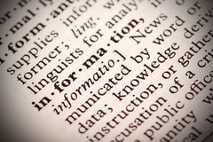 Information Definition. The word Information in a dictionary Royalty Free Stock Image