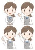 Information desk woman expression set stock illustration