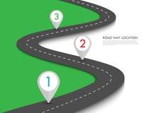 Information-diagram för läge för vägväg mall med stiftpekaren Arkivbild