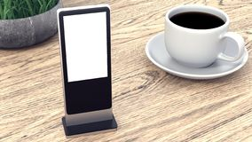 Information Display. Banner Stands in your design. Cup of coffee on a wooden table. 3D rendering stock images