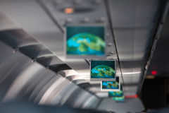 Information display inside  airplane Stock Photo