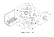 Information exchange between cloud and laptop. Royalty Free Stock Photos