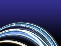 Information Flow. Abstract glowing lines on dark blue background Stock Photo