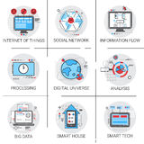 Information Flow Global Data Icon Set Internet Of Things Smart Technology Stock Images