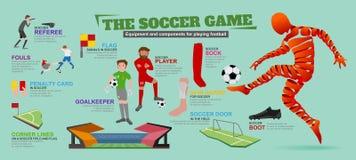 Information-Grafik mit Ausrüstung und Komponenten für das Spielen des Fußballs Lizenzfreie Stockbilder