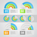 Information graphic. Abstract background of modern information graphic with colorful circular designs and copy space Stock Photos