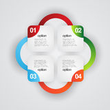 Information graphic. Illustration of colorful information graphic background with four different options and copy space Royalty Free Stock Image