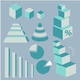 Information graphical Business icons. Business Information graphical icons blue colors vector illustration