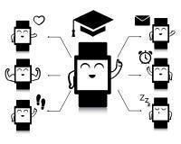 Information-graphique des icônes futées mignonnes de montre Photographie stock libre de droits