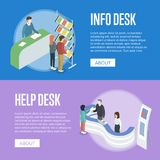 Information and help desk isometric flyers. Information and help desk isometric horizontal flyers. Company exhibition ad stand, product or service presentation Stock Photo