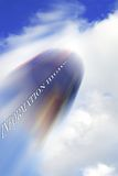 Information Highway. Speed Blur on Infomation Capsule  soaring through the Clouds Stock Photo