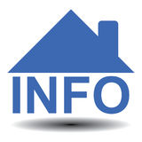 """Information on houses or homes. Illustration of a house built around the text """"info"""" in uppercase blue letters with a blue roof and chimney on top, white Royalty Free Stock Photos"""