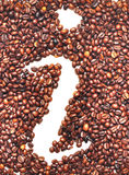 Information icon. Is lined with coffee beans on white background Stock Image