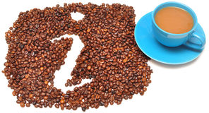 Information icon. Is lined with coffee beans on white background Stock Photography
