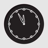 Information icon - last minute clock. Information icon - black circle with white last minute clock and shadow vector illustration